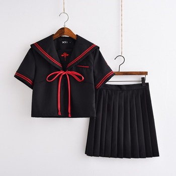 Bordado Demonio Oscuro Uniformes Escolares Para las Niñas de Anime Cosplay Disfraces JK Marinero Uniformes S-XL Top Y Falda Plisada