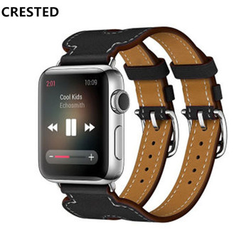 Correa de cuero Para apple de la banda de Reloj de 44 mm/40 mm iwatch 42mm/38 mm de doble hebilla de la pulsera de la correa de reloj para el apple watch series 5 4 3 se 6